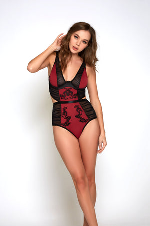 Micro & Mesh Teddy w/ Ruching & Applique Lingerie & Clothing  Lingerie iCollection Lingerie Small