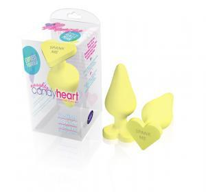 "Naughty Candy Hearts Plug Anal Toys Blush Novelties Yellow ""Spank Me"""