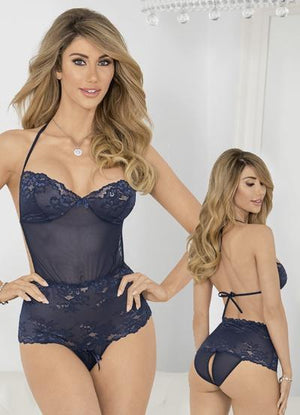 Navy Blue Teddy with Lace Up Crotch Queen Lingerie & Clothing > Lingerie 1X-4X Escante'