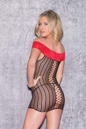 Off-the-Shoulder Fishnet and Lace Chemise Lingerie & Clothing > Lingerie Small-XL Glitter