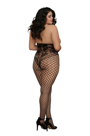 Open Cup Fishnet and Lace Bodystocking Lingerie & Clothing > Bodystocking Dreamgirl International Lingerie
