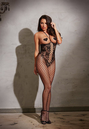Open Cup Lace & Fishnet Bodystocking Lingerie & Clothing > Bodystocking S - XL Dreamgirl International Lingerie