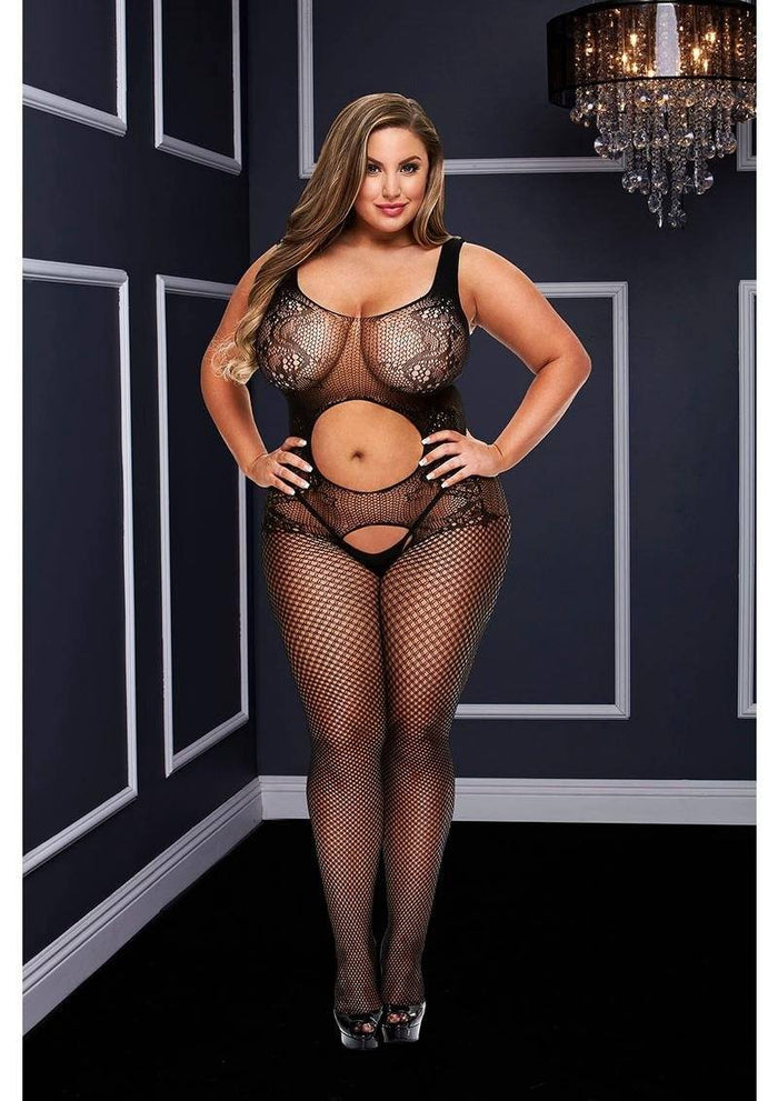 Open Front Crotchless Jacquard Bodystocking (Queen)