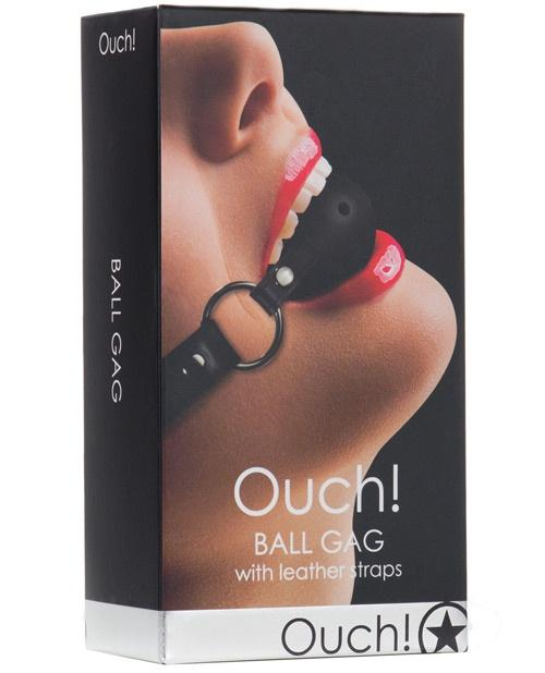Ouch! Ball Gag With Leather Straps Black