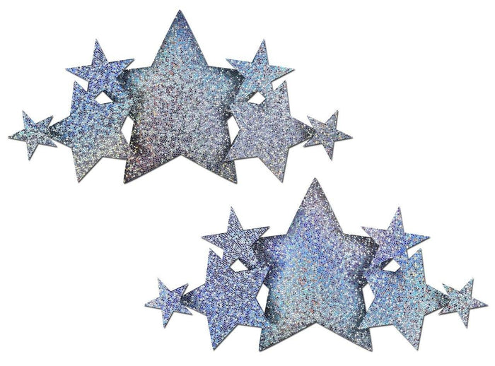 Pastease Demi Silver Glitter Star Breast Covers