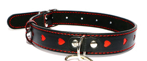 Queen of Hearts Leather Collar and Leash BDSM > Collars Touch of Fur