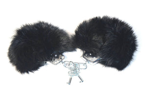 Rabbit Fur and Metal Handcuffs BDSM > Restraints Touch of Fur Black