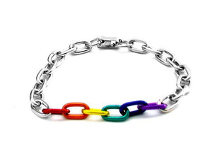 Rainbow and Silver Links Bracelet Bachelorette & Novelty Gaysentials