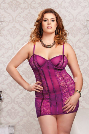 Raspberry Lace and Mesh Soft Cup Chemise Lingerie & Clothing > Lingerie 1X-4X iCollection Lingerie
