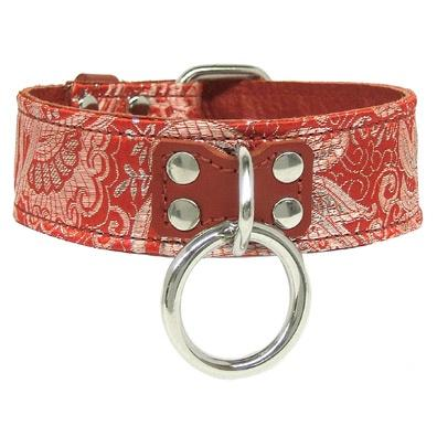 Red Leather-Lined Brocade Collar S/M