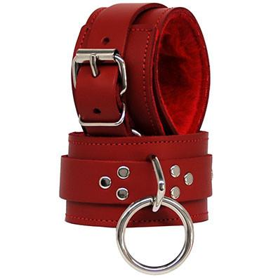 Red Leather Red Fleece Ankle Restraints BDSM > Restraints Kookie Intl.