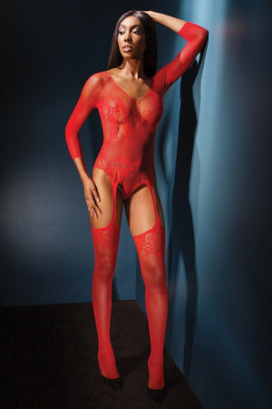 Red Teddy with Attached Garters Lingerie & Clothing > Bodystocking Coquette