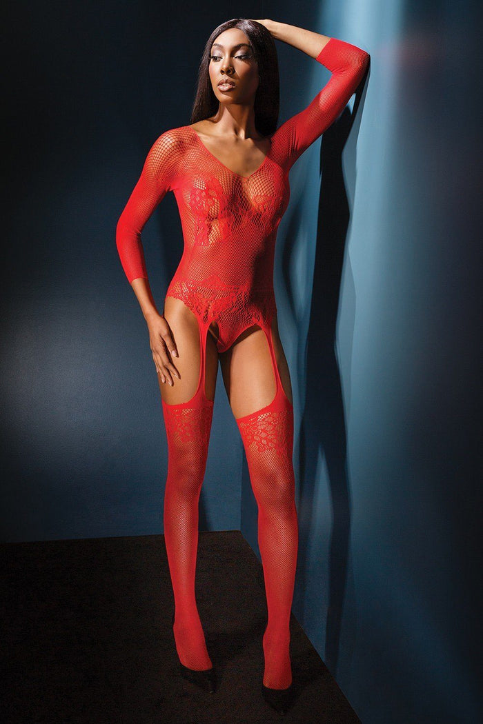 Red Teddy with Attached Garters