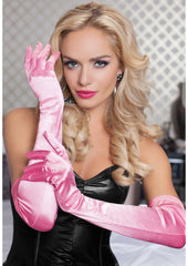 Satin Opera Length Gloves Lingerie & Clothing > Accessories Seven 'Til Midnight Light Pink