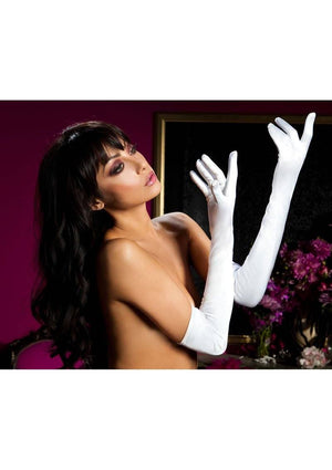 Satin Opera Length Gloves Lingerie & Clothing > Accessories Seven 'Til Midnight White