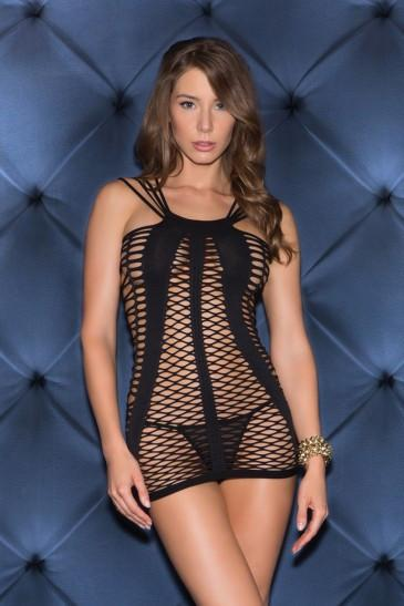 Seamless Netted Mini Dress, Black, O/S