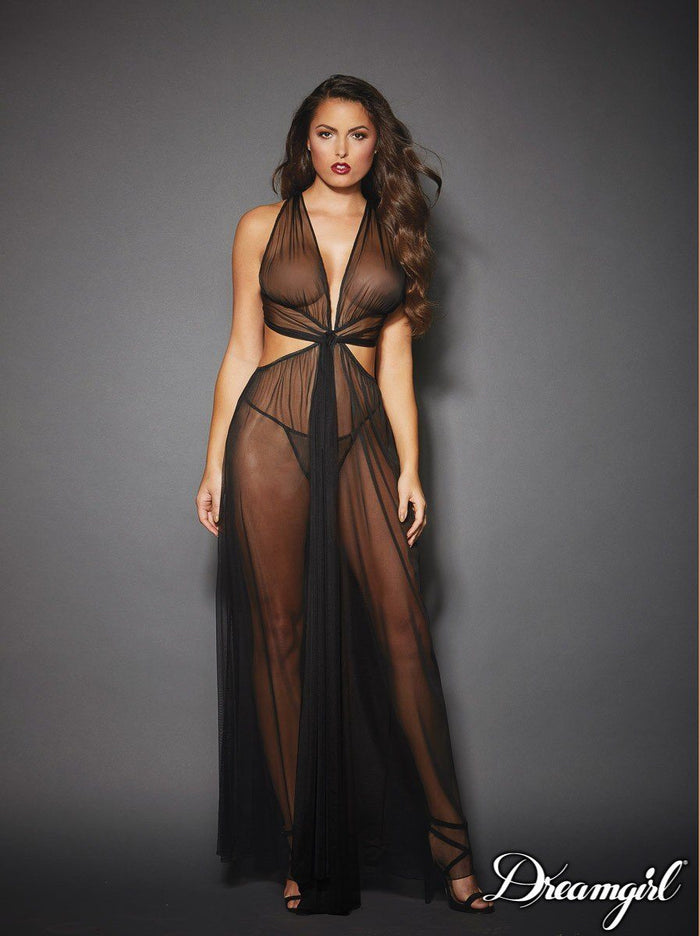 Sheer, Mesh, Grecian-Style Gown