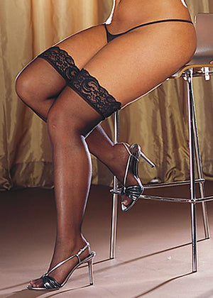 Sheer Thigh High with Lace Queen Lingerie & Clothing > Hosiery 1X - 4X Dreamgirl International Lingerie