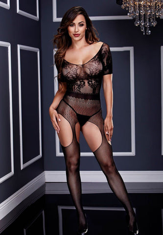 Short Sleeve Crotchless Suspender Bodystocking