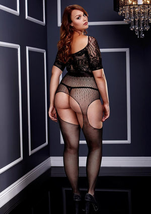 Short-Sleeve Crotchless Suspender Bodystocking Lingerie & Clothing > Lingerie 1X-4X Baci Lingerie