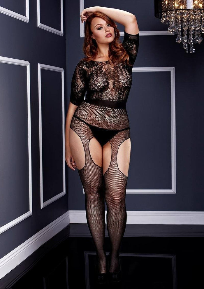Short-Sleeve Crotchless Suspender Bodystocking