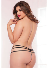 Strap Me In Thong, Black, Queen O/S Lingerie & Clothing > Panties Seven 'Til Midnight