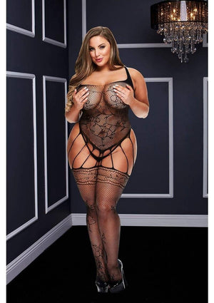 Strappy Bodystocking with Garters (Queen) Lingerie & Clothing > Bodystocking 1X-4X Baci Lingerie