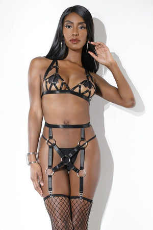 Strappy O-Ring Bra and Garter Belt Set Lingerie & Clothing > Lingerie Coquette