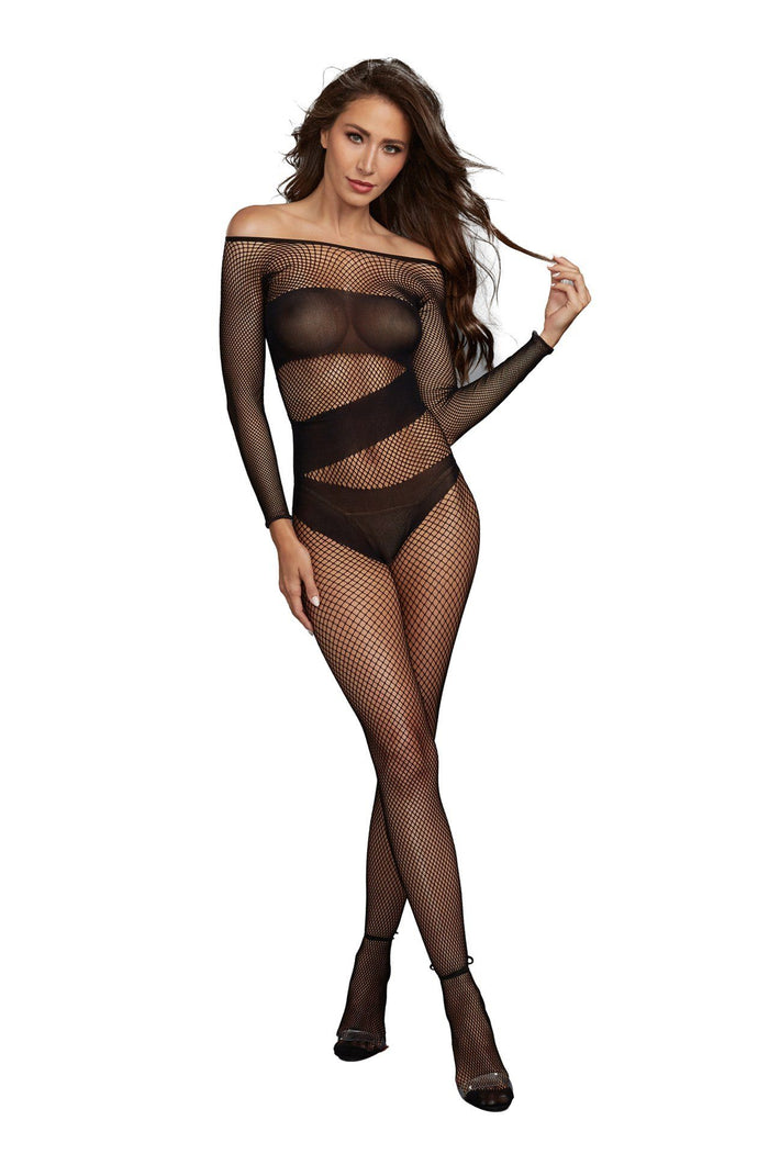 Stretch Fishnet Long-Sleeved Bodystocking