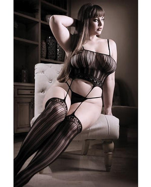 Striped Garter Bodystocking Lingerie & Clothing > Bodystocking Fantasy Lingerie