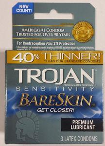 Trojan Sensitivity Bareskin Condoms & Safe Sex Trojan