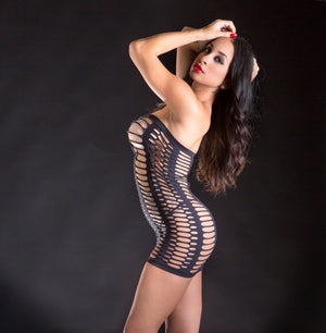 Tube Dress with Oval Cut-Outs Lingerie & Clothing > Lingerie Small-XL Beverly Hills Naughty Girl Black