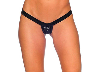 V-Front Comfort Strap Thong with Rhinestones Lingerie & Clothing > Club Wear BodyZone Apparel Black
