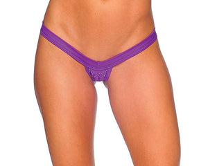 V-Front Comfort Strap Thong with Rhinestones Lingerie & Clothing > Club Wear BodyZone Apparel Purple