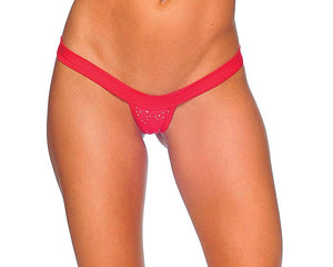 V-Front Comfort Strap Thong with Rhinestones Lingerie & Clothing > Club Wear BodyZone Apparel Red