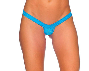 V-Front Comfort Strap Thong with Rhinestones Lingerie & Clothing > Club Wear BodyZone Apparel Turquoise