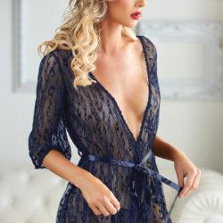 Valentina Leopard Lace Robe with G-String Lingerie & Clothing > Lingerie Small-XL Allure Blue