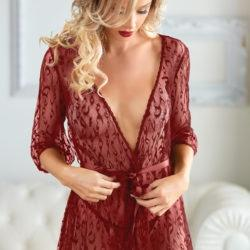 Valentina Leopard Lace Robe with G-String Lingerie & Clothing > Lingerie Small-XL Allure Red