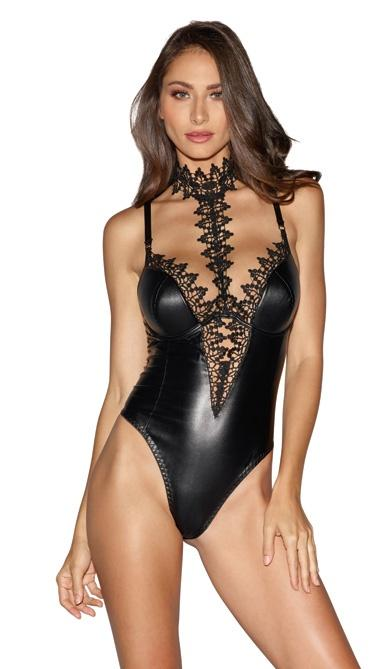 Venetian Lace and Wet Look Plunge Teddy Lingerie & Clothing > Lingerie Small-XL Dreamgirl International Lingerie