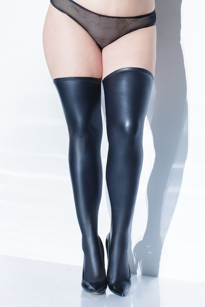 Wet Look Stockings with Silicone Top