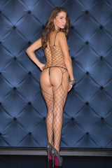 Wide Fishnet Bodystocking, Black, O/S Lingerie & Clothing > Bodystocking S - XL Glitter