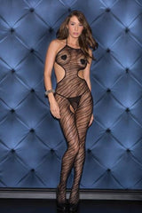 Zebra Print Halter Bodystocking, Black, O/S Lingerie & Clothing > Bodystocking S - XL Glitter