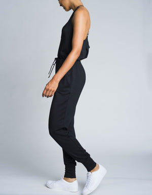 V Neck Jumpsuit [ black ]
