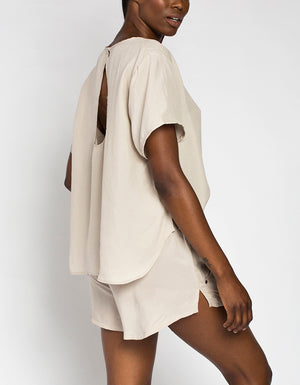 Cupro Tee [ TAUPE ]
