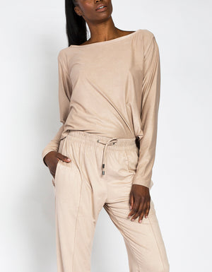 SUEDE TOP [ Beige ]