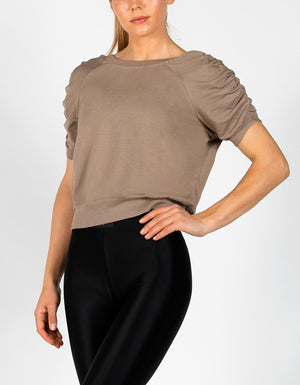 RUCHED SWEAT TEE [ KHAKI ]