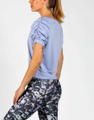 RUCHED SWEAT TEE [PERIWINKLE]
