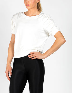 RUCHED SWEAT TEE [ WHITE ]