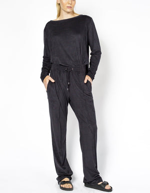 SUEDE PALAZZO PANTS [ BLACK ]