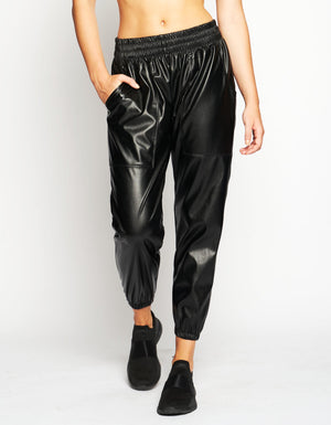 DOWNTOWN JOGGERS [ BLACK LEATHER ]